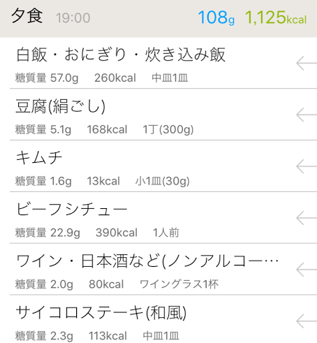 夕食のカロリーと糖質量iphoneアプリで計算